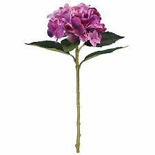 Artificial Silk Large Hydrangea Flowers 3 Single Stems Various Colours Purple