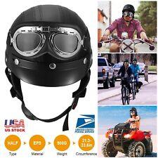 Motorcycle Helmets Open Face Half Helmet Scooter Bike Cruiser W/Pilot Goggles