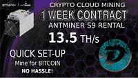 DIGITBYTE Mining CLOUD Hashing CONTRACT Miner Rental S9 13.5TH 1 WEEK DGB BTC 7