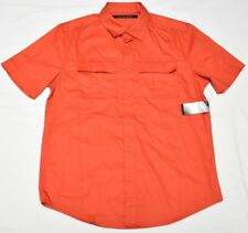 Sean John Button Down Shirt Men's Size M Velcro 2-Pocket Woven Poppy Red N796