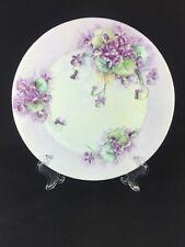 "Vintage Favorite Bavaria Hand Painted Purple Violet Flower Floral Decor Plate 9"""