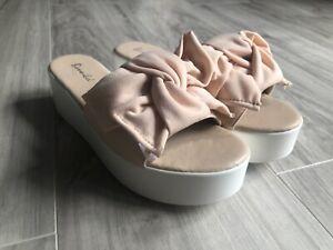 Bonnibel Womens Mina Platform Espadrille Slide Shoes Blush Pink Slip On New
