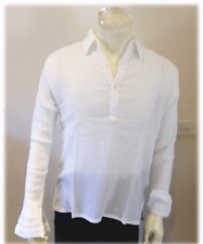 3 buttons Body tight collar shirt Cheese cloth,white…size XXL
