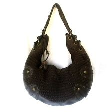 Isabella Fiore Leather Hobo Shoulder Handbag Bag Brown Large Studded Braided