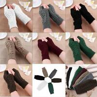 Fashion Women Men Gloves Arm Warmer Long Fingerless knit Mitten Winter Unisex LD