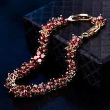 Promise Red Garnet Rhinestone Crystal Engagement Gold Chain Bracelet Jewelry