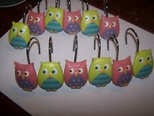 Set Of 12 Shower Curtain Rings Hooks Plastic Owls Pink Green Contemporary New