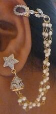 Jhumka Ear Cuff Cubic Zirconia AD Gold Plated Chain Indian Pearl Earirngs Set c