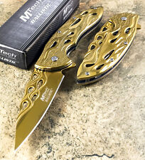"""8"""" MTECH TACTICAL Spring Assisted Open GOLD Flame Pocket Knife MT-A822GD"""