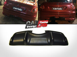 Black Rear Bumper Diffuser Spoiler Aero kit For 2002-2007 Peugeot 206 206cc