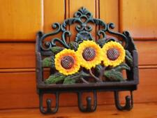 Cast Iron Sunflowers Wall Hanging Letter Mail Card Holder Keeper With Hooks