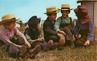 Postcard Leb Wohl From Pennsylvania Dutch Country Amish Children