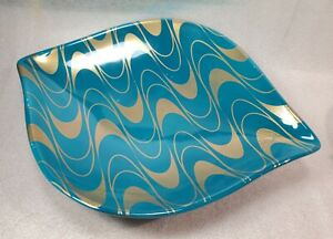 Jonathan Adler - Santorini Iris Turquoise Tray with Gold Accents Teal