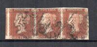 GB 1841 1d red-brown horizontal strip of 3 FU