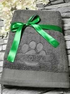 Personalised Embroidered Split Paw, Pet/Bath Towel for Dog/Puppy, Gift, Grooming