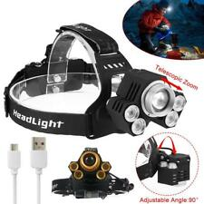 90000LM 5 x XM-L T6 LED projecteur USB phare zoom tête de pêche torche AT