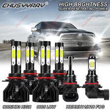 For 2011-2017 RAM 1500 2500 3500 6x LED Combo Headlight Kit Hi/Lo Beam+Fog Bulbs