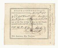 Colonial Note 1783 Connecticut Capt. Daniel Allen Pay Table Warrant