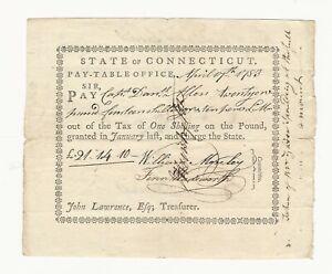 Colonial Note 1783 Connecticut Capt. Daniel Allen Pay Table Warrant £21/14/10