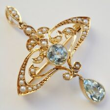 Stunning Antique Art Nouveau 15ct Gold Aquamarine & Pearl Pendant Brooch c1895
