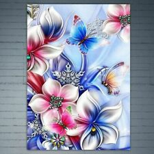 Flowers Butterfly DIY 5D Full Diamond Painting Cross Stitch Home Decor Craft