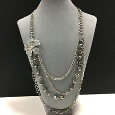 NEW! MultiStrand Rhinestone Flower Crystal Statement Necklace Silver Tone EE126b