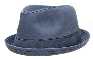 Men's Distressed Washed Cotton Fedora Hat w/ Pattern Lining