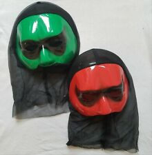 2 X Vintage 80s hooded Plastic Kids Novelty Halloween Ninja Ghoul Mask