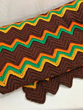 Hand crocheted ripple afghan brown orange gold green twin size bed cover 62 x 96