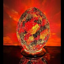 Fabulous Med Mosaic Glass Crackle Orange and Red Egg Table Lamp  Bedside LM74R