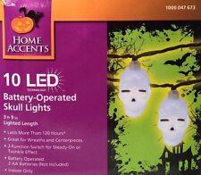 "Home Accents 10 Led Skull Lights Indoor Halloween Decoration 3' 9"" Battery Op"
