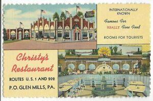 CHRISTY'S INTERNATIONAL HOTEL & RESTAURANT~GLEN MILLS,PA -CT 1948