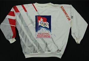Rare VTG ADIDAS St. Moritz Squaw Valley Olympic Winter Games Sweatshirt 80s XL