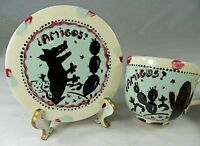 AMIGOS Cup & Saucer Hand Painted Artist Signed Coyote Desert Cactus West OOAK
