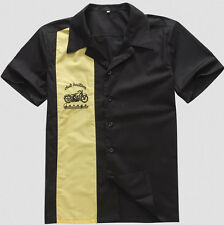 Mens 50s Rockabilly Hot Rod Novelty Bowling Shirts Motorbike Embroidery Button