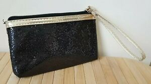 New Women's Black Coin Purse Small Sequin Zip 15 x 10 cm Party Evening Bag