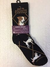 Wheel House Designs Jack Russell Terrier Novelty Crew Adult Dog Socks Black New