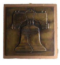 "Copper hammered pressed plaque Liberty Bell Vintage 4.5"" x 4.5"""