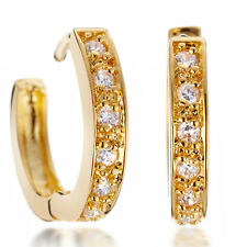 18K Yellow Gold Filled Womens Jewlery Round Hoop Diamond Earrings MTUK068+