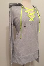 Victoria's Secret VSX Sport Lace Up Top Front Pullover Hoodie Heather Gray M