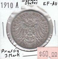 German States - Prussia 3 Mark 1910 A Mint XF Extra Fine - Lot ii