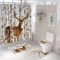 Deer Bathroom Rug Set Shower Curtain Thick Non Slip Toilet Lid Cover Bath Mat