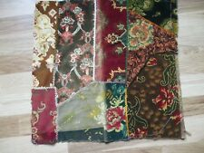 "Antique Crazy Patch Velvet Patchwork Quilt Covered Pillow Topper 22"" X 22"""