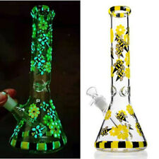10.6'' Glow in the Dark Yellow Bee Glass Hookahs Shisha Bongs Smoking Waterpipes