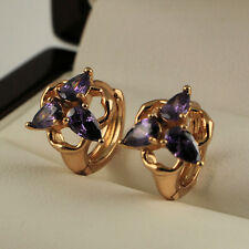 Small 18ct Gold Filled Purple Amethyst Zirconia Huggie Sleeper Earrings UK 211