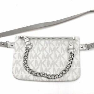 Michael Kors MK Signature Gray Silver Metal Chain Fanny Pack Belt Bag Purse SM