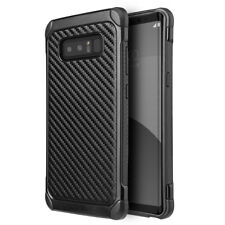 For Samsung Galaxy NOTE 8 - Black Carbon Fiber Hybrid Rubber Protector Skin Case