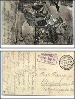 Militär Künstlerkarte 1916 Soldaten im Hindenburg-Graben Feldpost Feldpostkarte