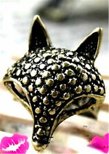 Adjustable vintage antique style silver fox charm ring