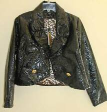 NWT Roberto Cavalli Black Art-to-Wear Vinyl Short Animal Jacket L / XL M WOW!!!!
